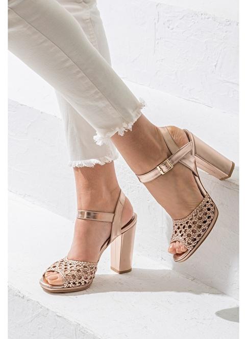 Elle Kalın Topuklu Ayakkabı Bakır
